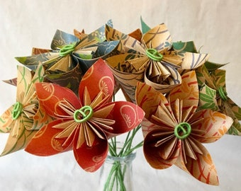 Natural Origami Flower Bouquet, Paper Flowers, Mother's Day, Cancer Patient Gift, 1st Anniversary, Office Decor, Sympathy, Valentine's Day