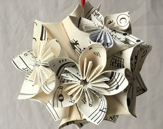 Sheet Music Christmas Ornament Origami Paper Flower Decoration Small Size