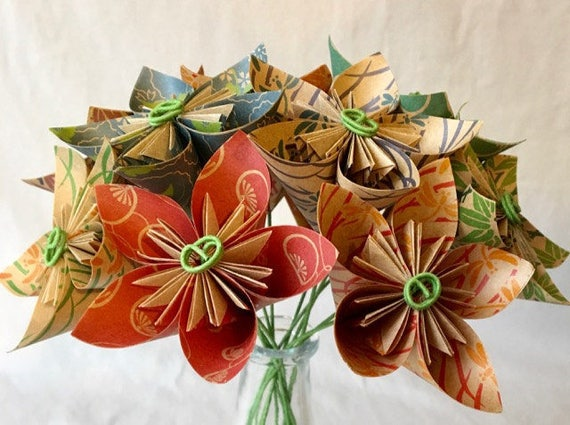 Natural origami flower bouquet paper flowers mothers etsy image 0 mightylinksfo