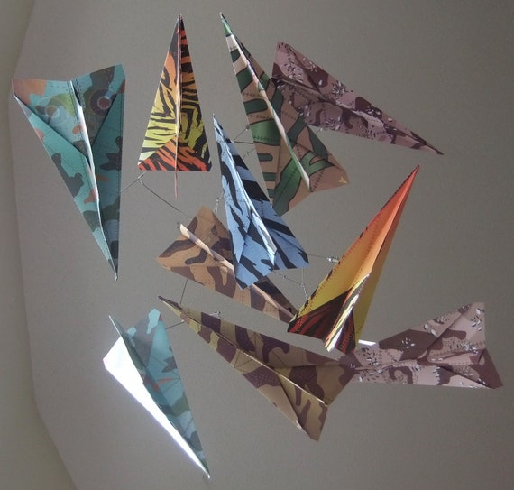 Airplane Baby Mobile in Camoflauge Paper