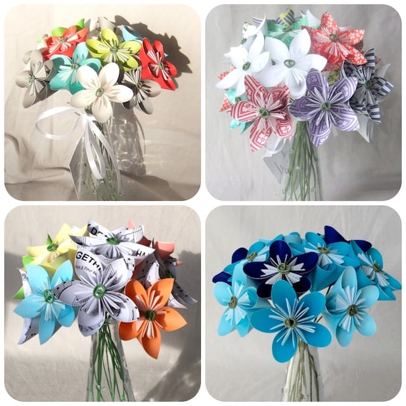 Custom Paper Flower Bouquet Anniversary Gift Valentine S Etsy