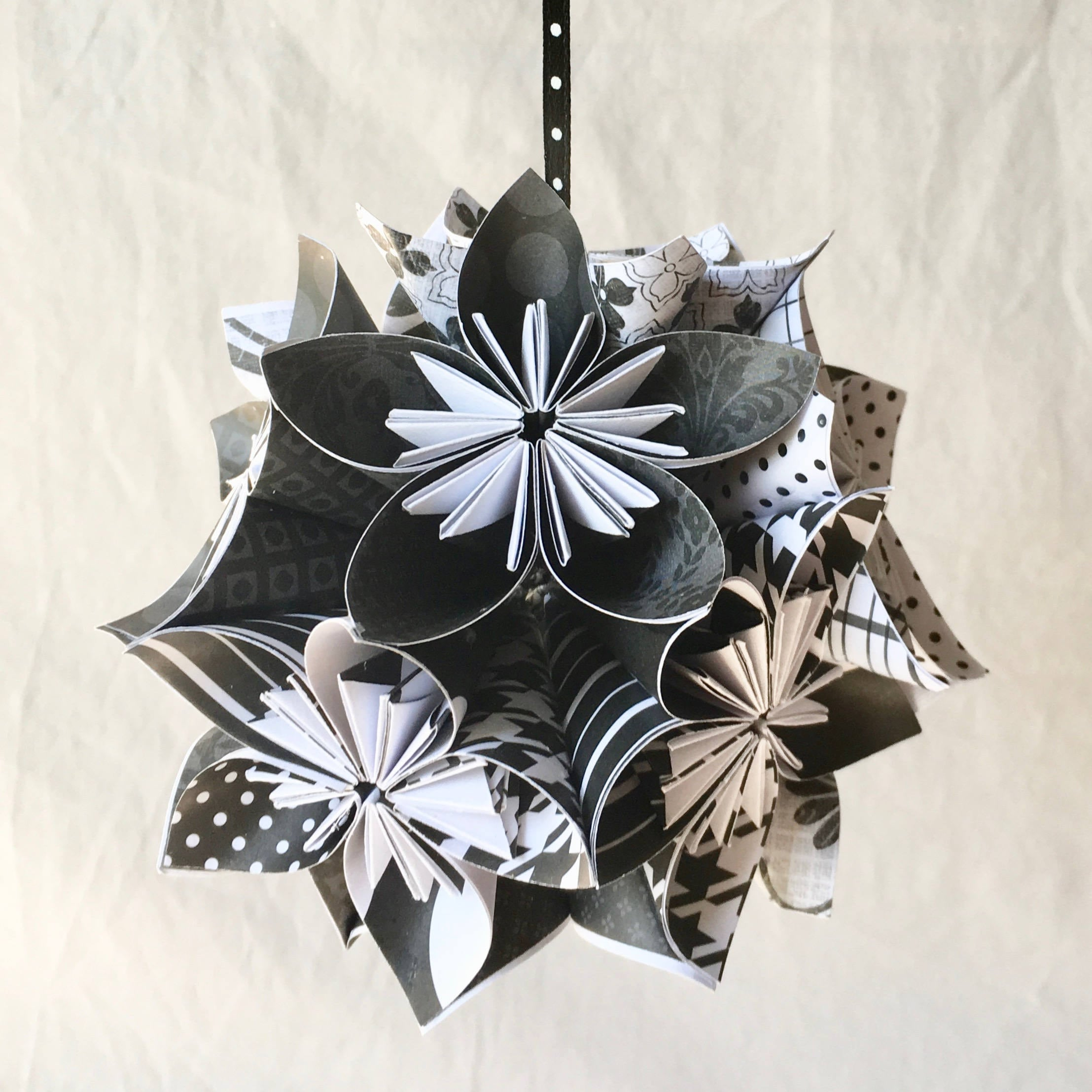 Black White Origami Flower Ornament Christmas Tree Etsy