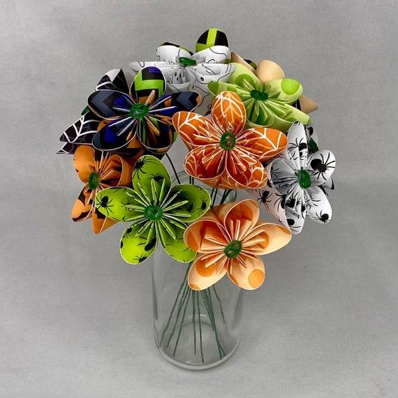 Paper Origami Flower Bouquet in Halloween Paper
