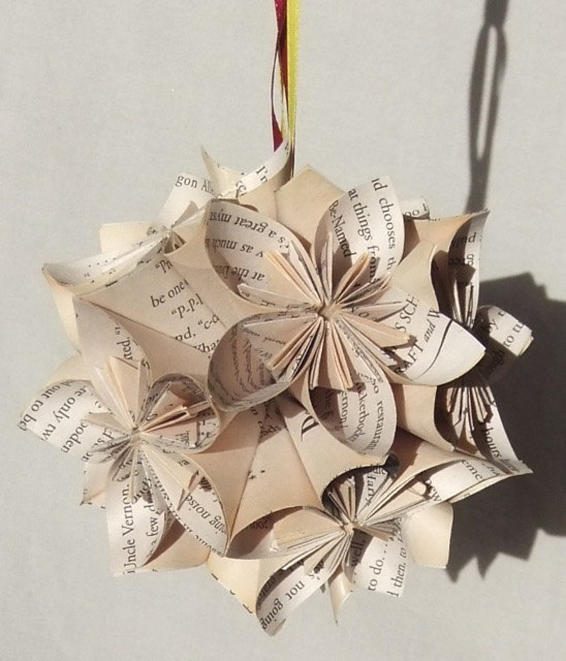 Harry Potter Book Ornament Christmas Tree Ornament Harry Potter Decor Fan Pull Geeky Christmas Harry Potter Christmas Paper Flowers