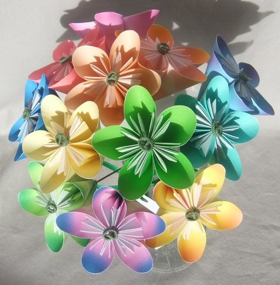 Origami Paper Flower Bouquet in Pastels