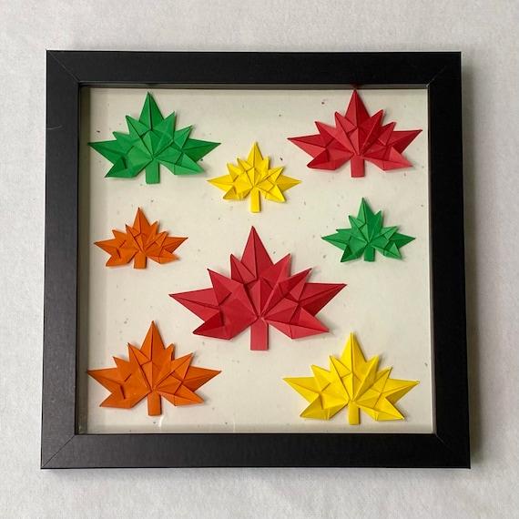 Origami Maple Leaves Shadow Box Wall Art