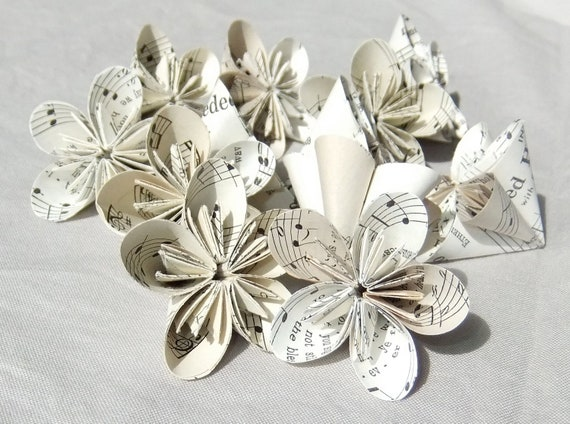 Mini Sheet Music Origami Paper Flowers Set of 6