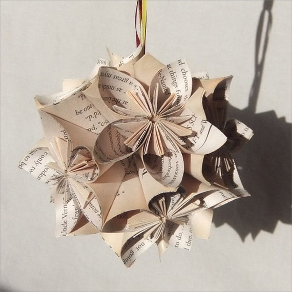 Harry Potter Book Christmas Ornament Origami Paper Flowers