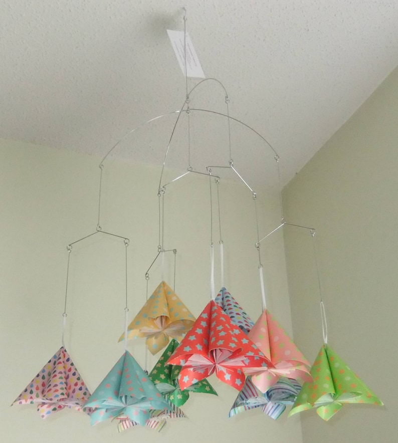 Baby Mobile Origami Flowers in Whimsical Rainbow Papers