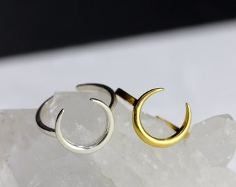 Sterling Silver or Vermeil Gold Crescent Ring // BB-R016 // Stacking Ring, Layering Ring, Minimalist Ring, Staple Jewelry Piece