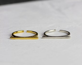 Sterling Silver or Vermeil Gold Horizontal Stacking Bar Ring // BB-R015 // Layering Ring, Minimalist Ring, Staple Jewelry Piece, Bar Ring