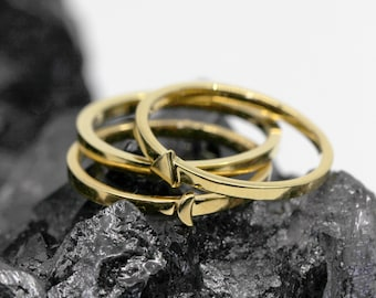 Modern Triangle, Moon, Triple Ring Set, Sterling Silver or Gold Vermeil, Simple Triangle Ring, Geometric Ring, Minimal Ring // BB-R003