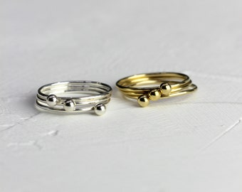 Sterling Silver or Vermeil Gold Stacking Simple Ball Ring // BB-R018 // Stacking Ring, Layering Ring, Minimalist Ring