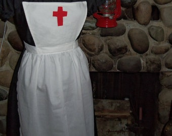Girls Clara Barton Historical Theme Colonial Costume Civil War Pinner Apron Only