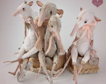 FAMILY of rats Miniature posable dolls animals Rat figurine gift for mom sculpture rag doll creepy stuffed animals dressed toy for blythe