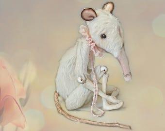 Ratberry bjd creepy doll White posable rat plush Art doll animal mouse Soft sculpture Stuffed toy rat Cute rat lover gift Creepy plush art
