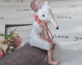 Mouse figurine White rat Miniature animals Felt toy mouse Tiny realistic mouse Plushies for bjd Stuffed animal handmade rat Gift for women