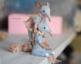 Miniature rat figurine Stuffed mouse Plush rat Creature toy Tiny animal lover gift Collectible miniature Art doll animal Easter gift for her