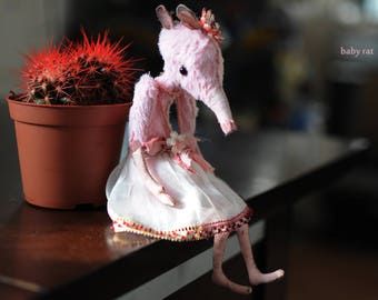 Birthday gift for women Pink Mouse Miniature Toys 40th birthday gift Rat figurines Gift for mom from daughter Country home decor Mom gifts