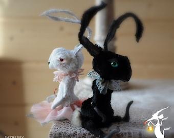 Art doll bunny rabbit Stuffed bunny Primitive Folk Art Rabbit Doll Custom rabbit plush Primitive bunny doll Dressed bunnies Rabbit memorial