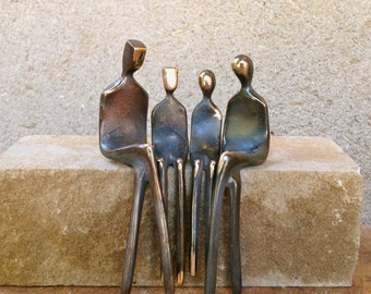 Family of Four   Small Bronze Sculpture   Family Portrait