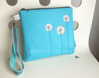 Large clutch wristlet in turquoise blue vegan leather
