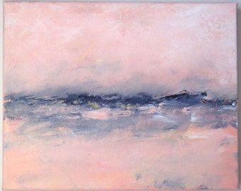 Beach painting, ocean painting in pink peach and grey. 8x10 abstract beach painting, impressionistic, modern, peaceful, misty