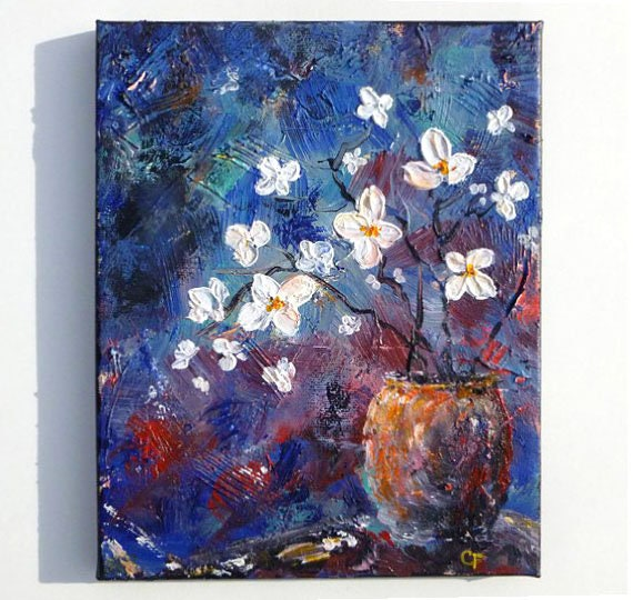 Etsy & Flower vase painting terracotta vase with white flowers on blue background texture colorful impressionist flower painting