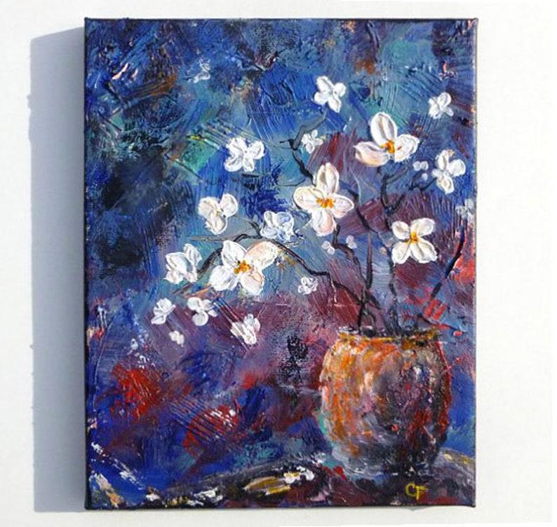 image 0 ... & Flower vase painting terracotta vase with white flowers on | Etsy