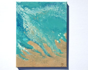 Abstract beach painting, fluid acrylic painting, liquid painting, ocean art, pour painting with cells, vertical 11x14