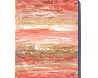 Abstract beach painting, ocean painting vertical 11x14 in orange and brown tones