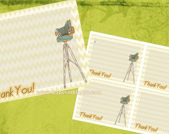Instant Download - Thank You Vintage Camera Cards