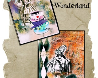 Alice In Wonderland Collage Instant digital download / junk journal tags/ note cards 5X7