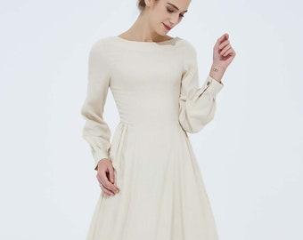 57c15a95598521 beige linen dress, classic dress, long sleeves dress, womens dresses, casual  dress, maxi linen dress, full dress, elegant dress 2104