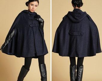 Hooded Wool Cape Coat, Autumn Winter Wool Cloak Coat, Oversized Cape Coat, Plus size wool cape, Blue Wool Poncho Cape Jacket, Xiaolizi 0391