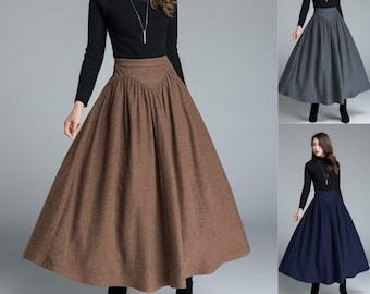 Vintage Inspired Long Wool skirt, brown skirt, women skirt, high waist skirt, winter wool skirt, pleated wool skirt, long wool skirt 1642#