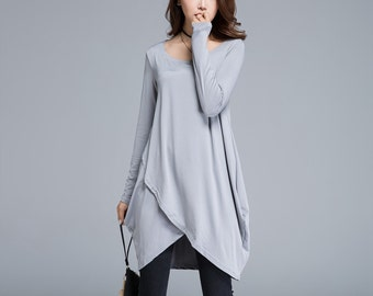 tunic top, knit dress, light grey dress, blouse, spring dress, shift dress, long sleeve dress, made to order, womens dresses, casual 1657