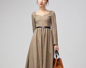 3fb5ad5a9f Plaid midi dress, retro womens dress, fit and flare dress, long sleeves  dress, pleated dress, holiday dress, women dress, xiaolizi 2198