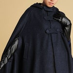 cape coat, wool cape, hooded cape, Wool Coat Cloak in blue, hooded wool cloak, womens cape, poncho cape, winter cape, oversized cape 0391#