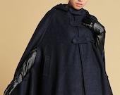 cape coat, hooded cape , Navy cape , wool cape coat, womens cape , blue cape , poncho cape, winter cape , personalized cape , cloak 0391