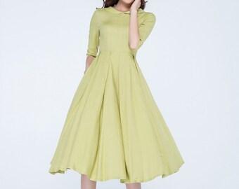 knee length dress, linen dress, lime green dress, woman dress, fitted dress, linen summer dress, short sleeve dress, day dress 1745