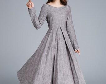 Long linen dress, linen dress women, party dress, spring dress, elegant dress, long sleeves dress, holiday dress, made to order  1652