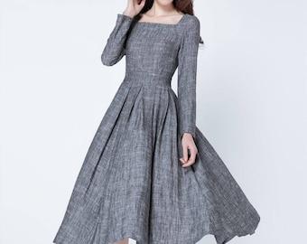 grey dress, fit and flare dress, long sleeves dress, pleated dress, midi dress, linen dress, square neck dress, plus size dress 1718