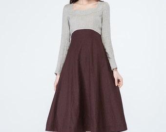 block color dress, long sleeves dress, grey and brown dress, party dress, prom dress, womens dresses, knee length dress, elegant dress  1699
