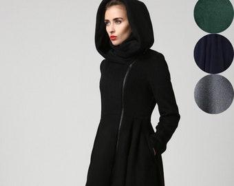 Black Winter Hooded Wool Coat Women, Asymmetrical Midi Wool Coat, Black Full Skirt Coat, Warm Winter Coat, Hooded Swing Coat, Fall Coat 1121