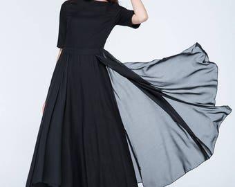 black summer dress, linen dress, chiffon dress, layered dress, fit and flare dress, modern dress, maxi dress, short sleeves dress  1754