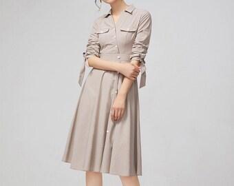 4eb8b2ad59 Midi womens dress, button dress, long sleeves dress, summer dress, handmade  dress, shirt collar dress, party dresses, women dress 2219