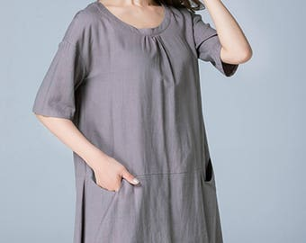 plus size linen tunic, loose shirt, womens tops, peasant blouse, casual shirt, gray shirt, handmade tops, short sleeves, plus size 1789