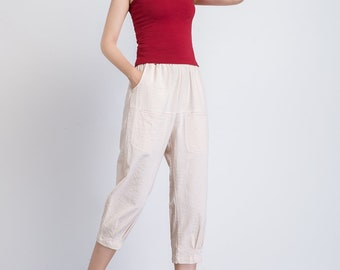 Beige capri pants, pants with pockets, elastic waist pants, casual trousers, women linen pants, summer pants, linen clothing, gift idea 1941