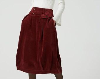 273a323f2c bubble skirt, red corduroy skirt, midi skirt, womens skirt, elastic waist  skirt, plus size skirt, casual skirt, winter corduroy skirt 2046